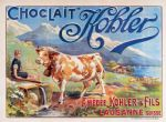 Chic French Kohler Chocolate Cow Metal Sign Plaque
